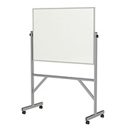 "Ghent®  Mobile Reversible Magnetic Porcelain Whiteboard, Aluminum Frame, 48""W x 36""H"
