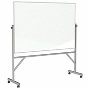 "Ghent®  Mobile Reversible Magnetic Porcelain Whiteboard, Aluminum Frame, 72""W x 48""H"