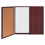 Ghent® Conference Mahogany Cabinet, Porcelain Magnetic Whiteboard w/Cork on Interior of Doors