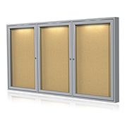 "Ghent® Concealed Lighting Enclosed Bulleting Board - 96""W x 48""H"