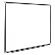 Ghent® DecoAurora Porcelain Magnetic Whiteboard Silver/Black Frame, 4' x 12'