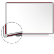 "Ghent® DecoAurora Porcelain Magnetic Whiteboard Silver/Cherry Frame, 120""W x 48""H"
