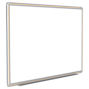 "Ghent® DecoAurora Porcelain Magnetic Whiteboard Silver/Light Maple Frame, 144""W x 48""H"