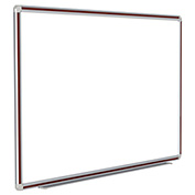 "Ghent® DecoAurora Porcelain Magnetic Whiteboard Silver/Mahogany Frame, 120""W x 48""H"