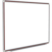 Ghent® DecoAurora Porcelain Magnetic Whiteboard Silver/Mahogany Frame, 4' x 12'