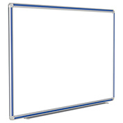 Ghent® DecoAurora Porcelain Magnetic Whiteboard Silver/Royal Blue Frame, 4' x 12'