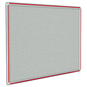"Ghent® DecoAurora Vinyl Bulletin Board, Red Trim, 72""W x 48""H, Gray"