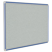"Ghent® DecoAurora Vinyl Bulletin Board, Royal Blue Trim, 48""W x 36""H, Gray"
