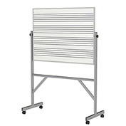 """Ghent® Reversible Porcelain Magnetic Whiteboard w/2 Sides Music Staff, 53-1/4""""W x 78-1/4""""H"""