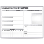 "Ghent® LEAN Manufacturing Whiteboard - 36"" x 48"" - Non-Magnetic with Aluminum Frame"