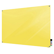 Ghent Harmony Magnetic White Board, 3' x 4', Yellow Glass, Square Corners