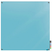 Ghent Harmony Magnetic White Board, 4' x 4', Blue Glass, Square Corners