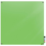 Ghent Harmony Magnetic White Board, 4' x 4', Green Glass, Square Corners