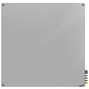 Ghent Harmony Magnetic White Board, 4' x 4', Gray Glass, Square Corners