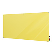 Ghent Harmony Magnetic White Board, 4' x 8', Yellow Glass, Square Corners