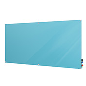 Ghent Harmony Non-Magnetic White Board, 4' x 8', Blue Glass, Square Corners