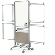 """Ghent® Nexus+ 2-Sided Mobile Mag Whiteboard, 4 Tablets Silver/Sand Frame, 32-5/8""""W x 76-1/8""""H"""