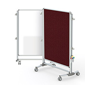 Ghent® Nexus Jr. Partition Reversible Mobile Porcelain Magnetic Whiteboard/Tackboard Merlot