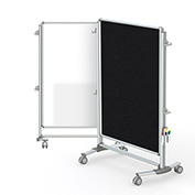 Ghent® Nexus Jr. Partition Reversible Mobile Porcelain Magnetic Whiteboard/Tackboard Black