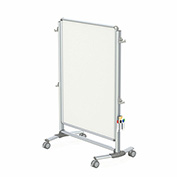 "Ghent® Nexus Jr. Partition 2-Sided Mobile Magnetic Whiteboard Silver Frame, 40-3/8""W x 57-3/8""H"