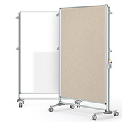 Ghent® Nexus Partition Reversible Mobile Porcelain Magnetic Whiteboard/Tackboard Beige