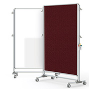 Ghent® Nexus Partition Reversible Mobile Porcelain Magnetic Whiteboard/Tackboard Merlot