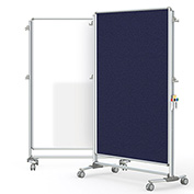 Ghent® Nexus Partition Reversible Mobile Porcelain Magnetic Whiteboard/Tackboard Blue