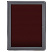 "Ghent® 1 Door Ovation Letter Board, Burgundy w/Gray Frame, 24-1/8""w x 33-3/4""H"