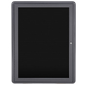 "Ghent® 1 Door Ovation Letter Board, Black w/Gray Frame, 24-1/8""w x 33-3/4""H"
