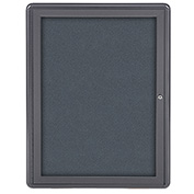 "Ghent® 1 Door Ovation Bulletin Board, Gray Fabric/Gray Frame, 24-1/8""W x 33-3/4""H"
