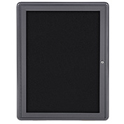 "Ghent® 1 Door Ovation Bulletin Board, Black Fabric/Gray Frame, 24-1/8""W x 33-3/4""H"