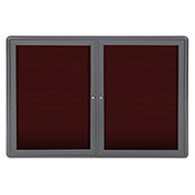 "Ghent® 2 Door Ovation Letter Board, Burgundy w/Gray Frame, 46-7/8""w x 33-3/4""H"