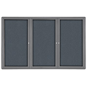 "Ghent® 3 Door Ovation Bulletin Board, Gray Fabric/Gray Frame, 72-1/8""W x 48-1/8""H"