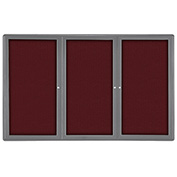 "Ghent® 3 Door Ovation Bulletin Board, Merlot Fabric/Gray Frame, 72-1/8""W x 48-1/8""H"
