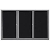 "Ghent® 3 Door Ovation Bulletin Board, Black Fabric/Gray Frame, 72-1/8""W x 48-1/8""H"