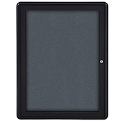 "Ghent® 1 Door Ovation Bulletin Board, Gray Fabric/Black Frame, 24-1/8""W x 33-3/4""H"