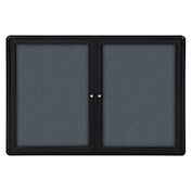 "Ghent® 2 Door Ovation Bulletin Board, Gray Fabric/Black Frame, 60-1/8""W x 36-1/8""H"