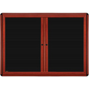 "Ghent® 2 Door Ovation Letter Board, Black w/Cherry Black Frame, 46-7/8""w x 33-3/4""H"