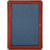 "Ghent® 1 Door Ovation Bulletin Board, Blue Fabric/Cherry & Chrome Frame, 24-1/8""W x 33-3/4""H"