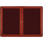"Ghent® 2 Door Ovation Letter Board, Burgundy w/Cherry Chrome Frame, 46-7/8""w x 33-3/4""H"