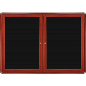 "Ghent® 2 Door Ovation Letter Board, Black w/Cherry Chrome Frame, 46-7/8""w x 33-3/4""H"