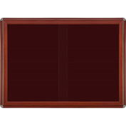 "Ghent® 2 Sliding Doors Ovation Letter Board, Burgundy w/Cherry Chrome Frame, 46-7/8"" x 33-3/4""H"