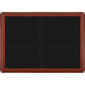 "Ghent® 2 Sliding Doors Ovation Letter Board, Black w/Cherry Chrome Frame, 46-7/8""w x 33-3/4""H"