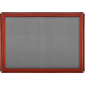 "Ghent® 2 Sliding Door Ovation Bulletin Board, Gray w/Cherry & Chrome Frame, 46-7/8""W x 33-3/4""H"