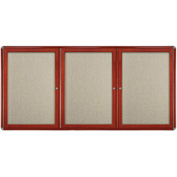 "Ghent® 3 Door Ovation Bulletin Board, Beige Fabric/Cherry & Chrome Frame, 72-1/8""W x 48-1/8""H"