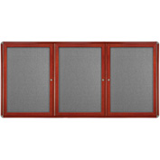 "Ghent® 3 Door Ovation Bulletin Board, Gray Fabric/Cherry & Chrome Frame, 72-1/8""W x 48-1/8""H"