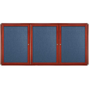 "Ghent® 3 Door Ovation Bulletin Board, Blue Fabric/Cherry & Chrome Frame, 72-1/8""W x 48-1/8""H"