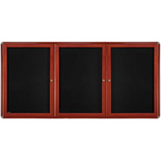 "Ghent® 3 Door Ovation Bulletin Board, Black Fabric/Cherry & Chrome Frame, 72-1/8""W x 48-1/8""H"