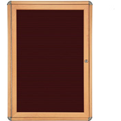 "Ghent® 1 Door Ovation Letter Board, Burgundy w/Maple Chrome Frame, 24-1/8""w x 33-3/4""H"