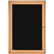 "Ghent® 1 Door Ovation Letter Board, Black w/Maple Chrome Frame, 24-1/8""w x 33-3/4""H"